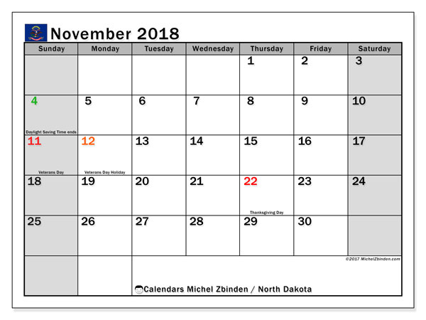 Calendar November 2018, with the holidays of North Dakota. Monthly planner to print free.