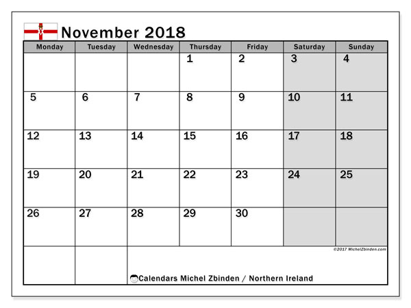 Calendar November 2018, with the holidays in Northern Ireland. Free printable calendar.