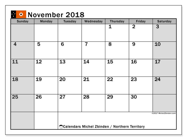 Calendar November 2018, with the holidays of Northern Territory. Free bullet journal to print.