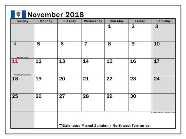 Calendar November 2018, with the holidays of Northwest Territories. Free calendar to print.