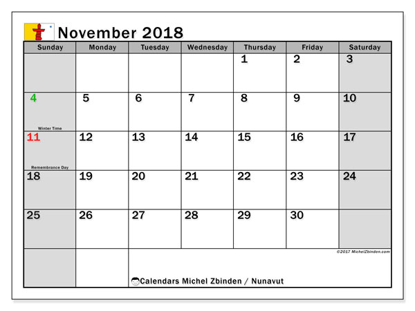 Calendar November 2018, with the holidays of Nunavut. Bullet journal to print free.