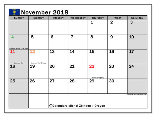 Calendar November 2018, with the holidays of Oregon. Free planner to print.
