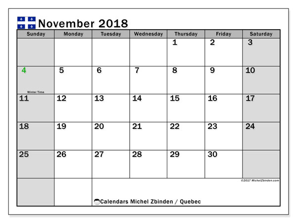 Calendar November 2018, with the holidays of Quebec. Monthly calendar to print free.