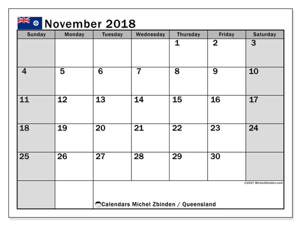 Calendar November 2018, with the holidays of Queensland. Free printable monthly calendar.