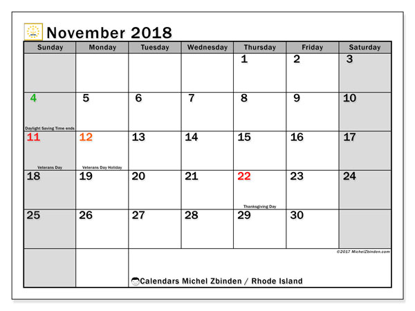 Calendar November 2018, with the holidays of Rhode Island. Monthly calendar to print free.