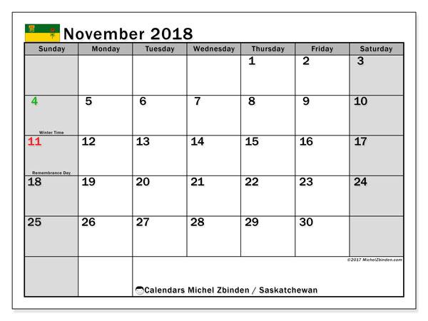 Calendar November 2018, with the holidays of Saskatchewan. Free calendar to print.