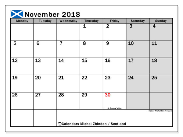 Calendar November 2018, with the holidays of Scotland. Free printable bullet journal.
