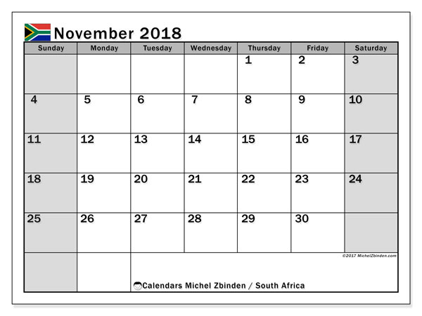 november 2018 calendar holidays south africa