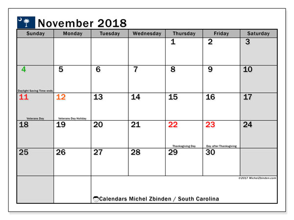 Calendar November 2018, with the holidays of South Carolina. Free planner to print.