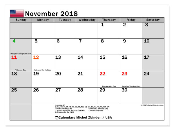 Calendar November 2018, with the holidays of the USA. Calendar to print free.