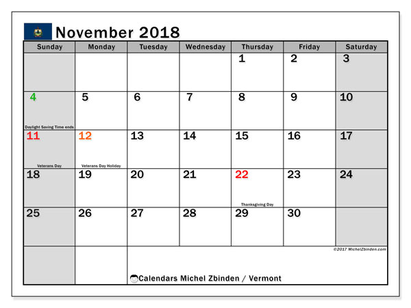 Calendar November 2018, with the holidays of Vermont. Free printable planner.