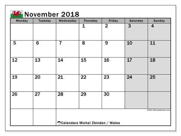 Calendar November 2018, with the holidays of Wales. Calendar to print free.