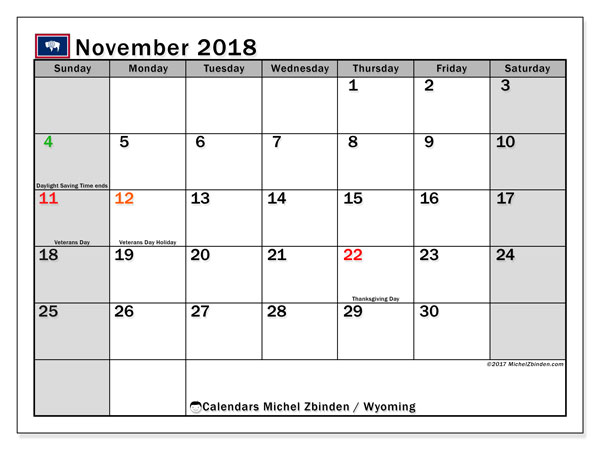 Calendar November 2018, with the holidays of Wyoming. Free bullet journal to print.