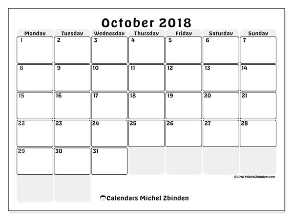 Calendar October 2018 (44MS). Calendar for the month to print free.