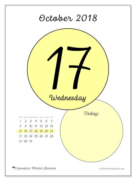 Calendar October 2018 (45-17MS). Daily calendar to print free.