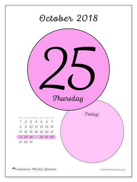 Calendar October 2018 (45-25MS). Free printable daily calendar.