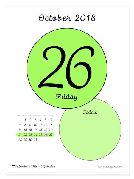 Calendar October 2018 (45-26SS). Free printable daily calendar.
