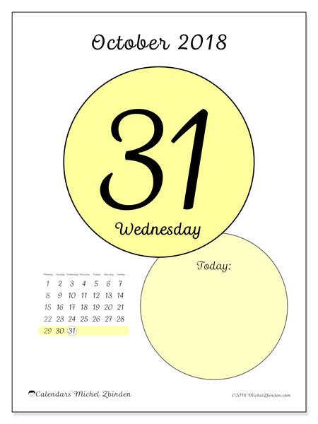 Calendar October 2018 (45-31MS). Free printable daily calendar.