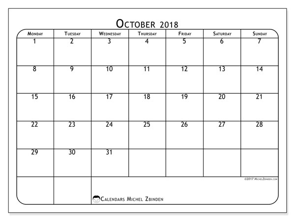 Calendar October 2018 (51MS). Monthly planner to print free.
