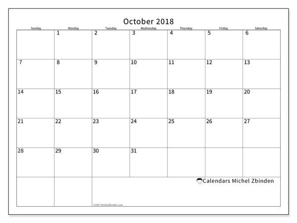 Calendar October 2018 (53SS). Monthly calendar to print free.
