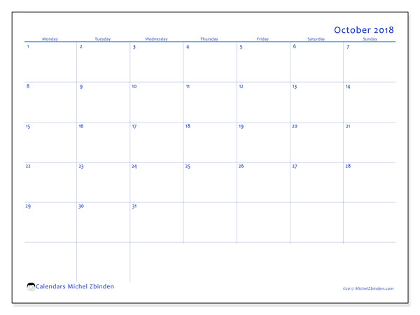 Calendar October 2018 (55MS). Calendar to print free.