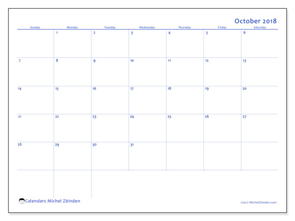 Calendar October 2018 (55SS). Free bullet journal to print.