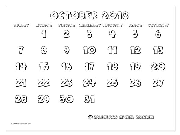 Calendar October 2018 (56SS). Free printable monthly planner.