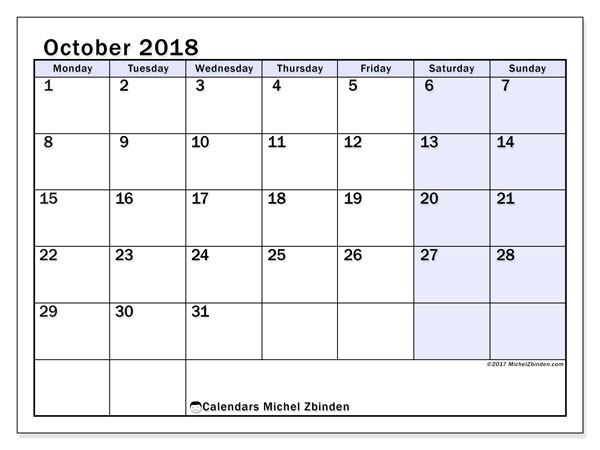 Calendar October 2018 (57MS). Free bullet journal to print.
