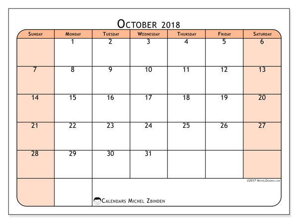 Calendar October 2018 (61SS). Free planner to print.