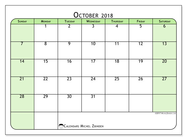 Calendar October 2018 (65SS). Monthly calendar to print free.