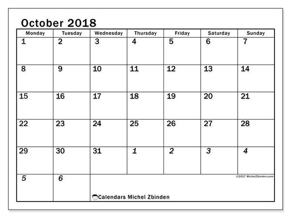 Calendar October 2018 (66MS). Free printable planner.