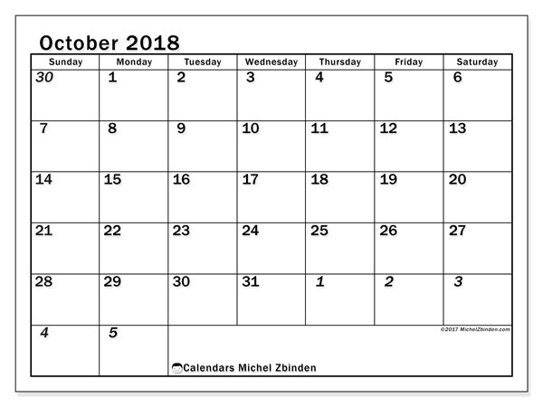 Calendar October 2018 (66SS). Monthly planner to print free.