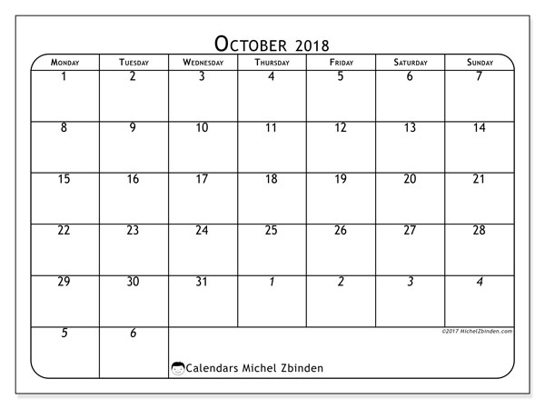 Calendar October 2018 (67MS). Free printable monthly calendar.
