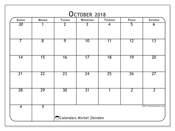 Calendar October 2018 (67SS). Free bullet journal to print.