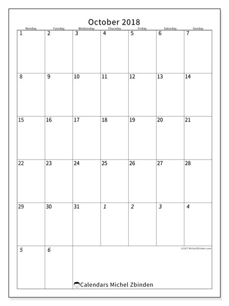 Calendar October 2018 (68MS). Calendar for the month to print free.