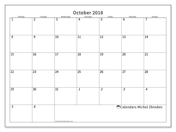 Calendar October 2018 (70MS). Free printable monthly planner.