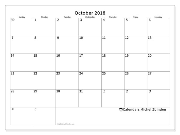 Calendar October 2018 (70SS). Bullet journal to print free.
