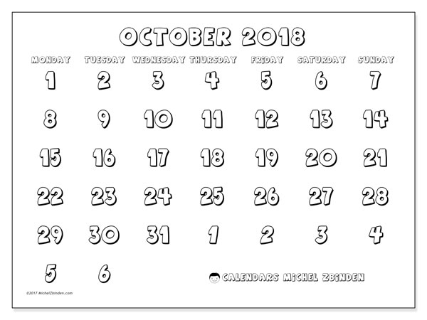 Calendar October 2018 (71MS). Free printable monthly planner.