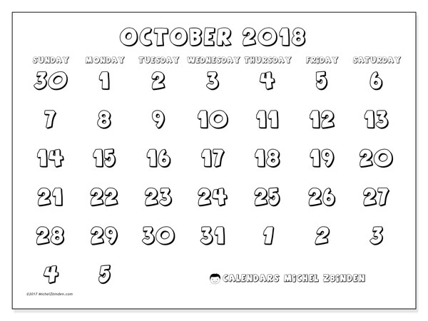 Calendar October 2018 (71SS). Free calendar to print.