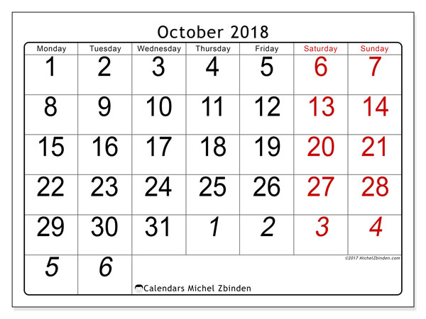 Calendar October 2018 (72MS). Free planner to print.