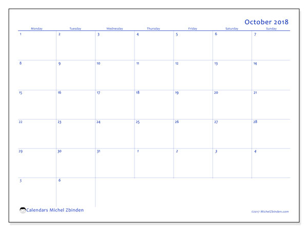 Calendar October 2018 (73MS). Free printable calendar.