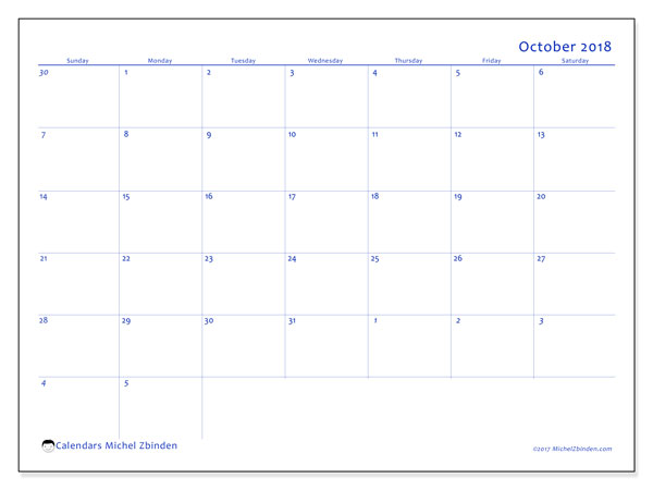 Calendar October 2018 (73SS). Free calendar to print.
