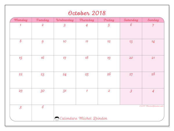 Calendar October 2018 (76MS). Free bullet journal to print.