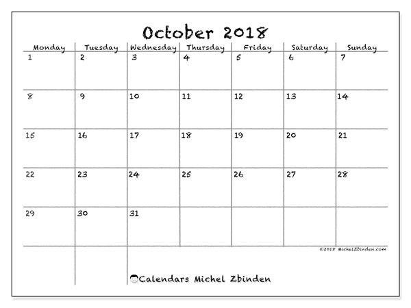 Calendar October 2018 (77MS). Monthly calendar to print free.