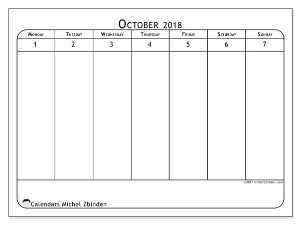 Calendar October 2018 (90MS). Free printable planner.