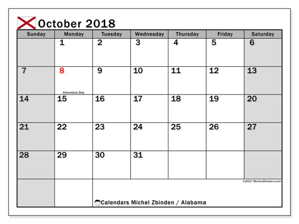 Calendar October 2018, with the holidays of Alabama. Free calendar to print.