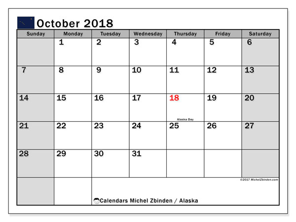 Calendar October 2018, with the holidays of Alaska. Bullet journal to print free.