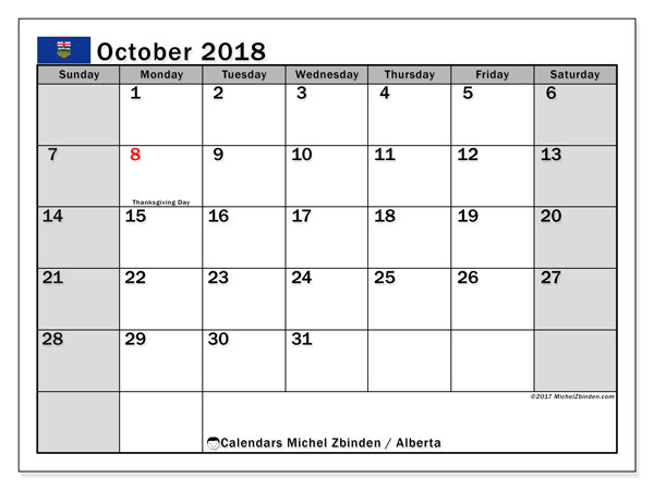 Calendar October 2018, with the holidays of Alberta. Bullet journal to print free.