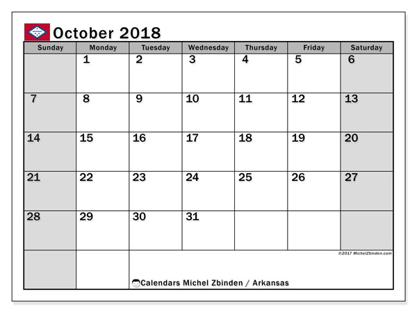 Free printable calendar October 2018, with the holidays of Arkansas. Monthly calendar.
