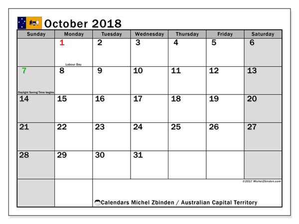 Calendar October 2018, with the holidays of Australian Capital Territory. Free printable planner.